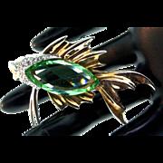 Vintage Rare MARCEL BOUCHER Rhinestone Peridot Glass Betta FISH Figural Brooch Pin