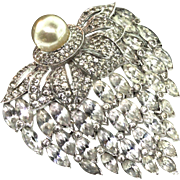 Vintage JOMAZ Mazer Huge Art Deco Pave Rhinestone Fx Mabe Pearl Floral Brooch Pin