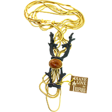 Vintage Rare DIANE LOVE For TRIFARI Rampant Ibex Multi-Chain Snake Figural Necklace