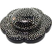Vintage Couture Runway PATRICIA VON MUSULIN Ebony & Sterling Nailhead Modernist Flower PIN