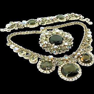 Vintage JULIANA D&E AB Smoke Rhinestone Framed Disc Necklace Bracelet Brooch PARURE Set