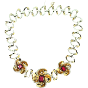 Rare Vintage 1940 MAZER Rose Flower Ruby Red Crystal Rhinestone NECKLACE Book Piece