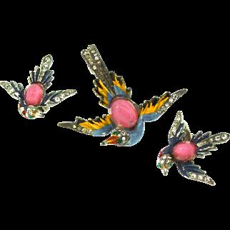 Vintage 1940s PHOENIX BIRD Figural Rhinestone Enamel Pin & Clip Earrings Set