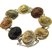 Antique Italian Victorian Silver High Relief Colored LAVA CAMEO Panel Bracelet