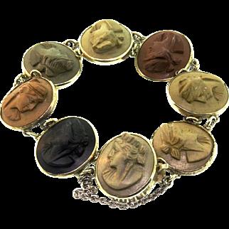 Antique Italian Victorian Silver High Relief Colored LAVA CAMEO Panel Bracelet