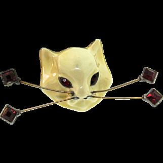 Vintage 1939 CORO Henry Rosenblatt CAT Kitty Figural Rhinestone Wire Whiskers FUR CLIP