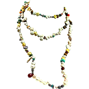 Vintage 48 Inch Xtra Long Pearl Turquoise Tigers Eye Coral Quartz Bead Chip Strand NECKLACE