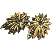 Vintage Art Deco Sterling Silver Gold Vermeil Marcasite French Clip EARRINGS 27.5g