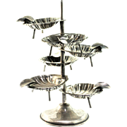 Vintage Mexico Sterling Personal 6 Clamshell ASHTRAY Tree Set 115.7g Server Dish