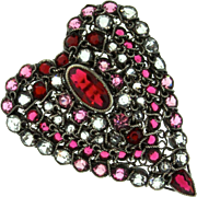 Vintage 1940s HOBE STERLING Ruby Pink Clear Open Back Rhinestone Heart Brooch Pin