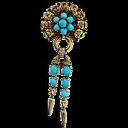 Vintage 1946 Philippe TRIFARI Sterling Turquoise Ruby Rhinestone Dangle Brooch Pin