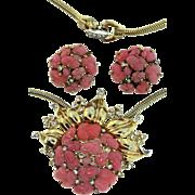 Vintage 1948 TRIFARI Pink Glass Fruit Salad Rhinestone Pendant Necklace Earrings SET