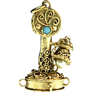 Estate 14K Gold CANDLESTICK TELEPHONE Charm Pendant Garnet Pearl Turquoise 11.1g