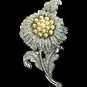Large Vintage 1940 Philippe TRIFARI Empress Eugenie Rhinestone Fx Pearl Flower Figural Pin Fur Clip