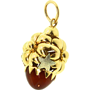 Estate 18K Gold Poppy Flower Star Charm Pendant Bullet Carnelian 6.5g