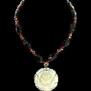Estate Onyx Carnelian Bead Carved MOP Rose Flower Pendant Sterling NECKLACE