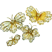 Vintage Family of 4 Italian Vermeil Silver Filigree BUTTERFLY Figural Brooches Pins