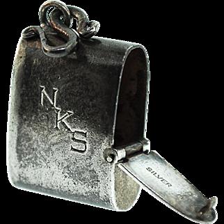 "Vintage Chinese Export Silver Monogram ""NKS"" SACCHARIN DISPENSER Fob Pendant Charm"
