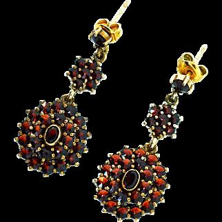 Antique Victorian BOHEMIAN GARNET Vermeil Drop Dangle Pierced EARRINGS