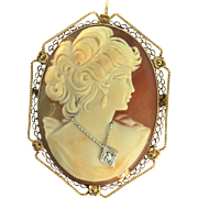 Vintage Art Deco 1920s 14K Yellow Gold Gibson Girl Habille CAMEO Pendant Brooch Pin