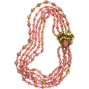 Vintage MIRIAM HASKELL Sherbert Art Glass Five Strand Rhinestone NECKLACE