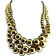 Vintage Bold & Chunky NAPIER Graduated Gold Metal Bead Triple Strand NECKLACE