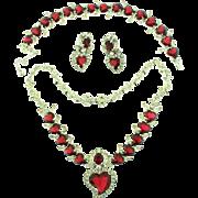 Vintage CHRISTIAN DIOR by Kramer Ruby Red Heart Rhinestone Necklace Bracelet Earrings Parure