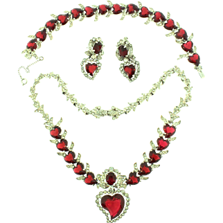 Vintage CHRISTIAN DIOR by Kramer Ruby Red Heart Rhinestone Necklace Bracelet Earrings Parure