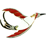 RARE Vintage TRIFARI Jelly Belly Rhinestone SWALLOW Bird Figural Brooch Pin Book Piece