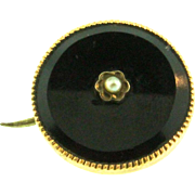 Antique Petite Victorian 12K Yellow Gold Seed Pearl Onyx Mourning Pin 1.5g