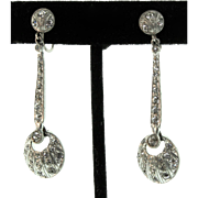 Vintage FRENCH Art Deco Dangling Paste Articulated Screwback EARRINGS