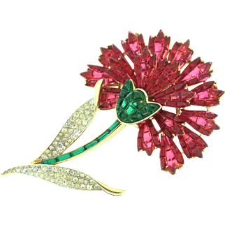 Vintage TRIFARI Invisible Invisibly Set Rhinestone FLOWER Carnation Figural Brooch Pin
