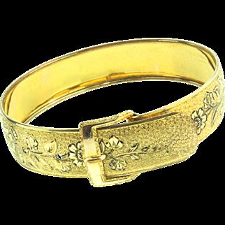 Vintage HAYWARD Wide Gold Filled Floral Etched Buckle Bangle Bracelet