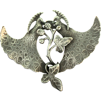 Early 1900s Antique Art Nouveau FRENCH Peacock Figural Dress Clip Brooch Pin