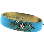 RARE Antique 1880's Austro Hungarian Victorian Robins Egg Blue Enamel Seed Pearl Bangle BRACELET