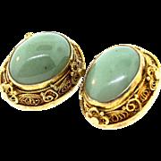 Vintage 1930's Deco CHINESE EXPORT Vermeil Plated SILVER Filigree Jade Clip Earrings