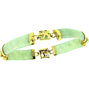 Vintage 1920s CHINESE 14K Yellow Gold Celadon Jadeite Jade Panel Dragon Bracelet