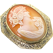 Antique Edwardian 14K Yellow Gold Floral Engraved CAMEO Pendant Brooch Pin 16.8g