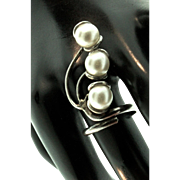 Vintage Unusual MEXICAN EDM Sterling Silver 925 Organic Pearl RING Sz 8