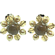 Vintage 1960 CHRISTIAN DIOR Taupe Art Glass Crystal Bead Fx Pearl Flower CLIP EARRINGS