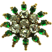 Antique BOHEMIAN Emerald Clear Glass Stones Brass Starburst Sunburst Brooch Pin