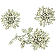 1951 Vintage Mitchell Maer CHRISTIAN DIOR Tremblant FLOWER Rhinestone Brooch Earrings Set