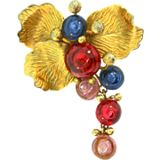 Vintage 1968 CHRISTIAN DIOR Figural Stylized FLOWER Gumdrop Gripoix Poured Glass Dangle Brooch