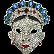 RARE Vintage 1940 MAZER Oriental Mask Figural Rhinestone FUR CLIP Brooch Pin BOOK PIECE 5 Star Rarity