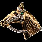 Vintage Philippe TRIFARI Goldplated Rhinestone Cabochon HORSE Figural Pin Brooch