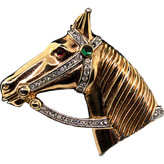 Vintage Philippe TRIFARI Goldplated Rhinestone Cabochon HORSE Figural Pin Brooch