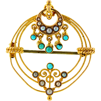 Antique Victorian European 15K Gold Pearl Persian Turquoise Brooch Pin 6.7g