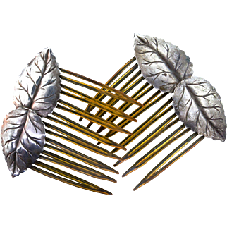 Stunning Pair of Antique ART NOUVEAU Sterling Silver Leaf Hair Combs