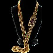 "Vintage CHANEL GRIPOIX Emerald Ruby Glass Multi-Chain 30"" Belt Necklace"
