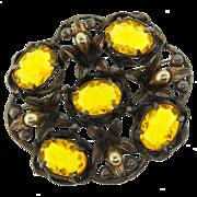 Vintage Huge Art Nouveau CZECH Open-Back Yellow Ovals Fx Pearl Flower Brooch Pin